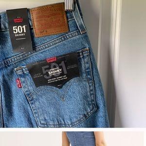 Levi's 501 high rise skinny jean in Blue Mark